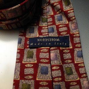 nordstrom burgundy print necktie made in italy